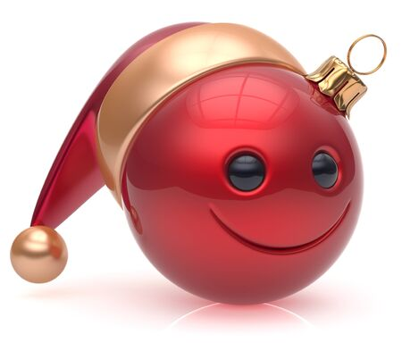 adornment: Christmas ball emoticon smiley face adornment Happy New Years Eve bauble decoration cute red. Happy Merry Xmas cheerful avatar smile Santa hat laughing funny joyful cartoon character. 3d render