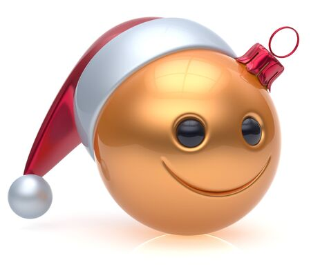 adornment: Christmas ball emoticon smiley face adornment Happy New Years Eve bauble decoration cute golden. Happy Merry Xmas cheerful avatar smile Santa hat laughing funny joyful cartoon character. 3d render