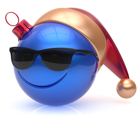 christmasball: Christmas ball emoticon smiley face eyeglasses adornment New Years Eve bauble cartoon decoration cute blue. Happy Merry Xmas cheerful glasses smile avatar Santa hat laughing fun character. 3d render