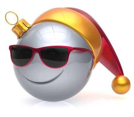 christmasball: Christmas ball emoticon smiley face eyeglasses adornment New Years Eve bauble cartoon decoration cute white. Happy Merry Xmas cheerful glasses smile avatar Santa hat laughing fun character. 3d render
