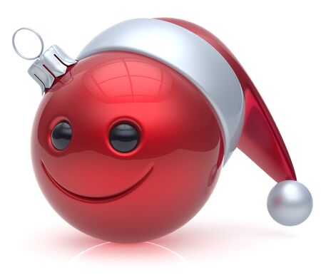 christmasball: Emoticon Christmas ball smiley face adornment Happy New Years Eve bauble decoration cute red. Happy Merry Xmas cheerful avatar smile Santa hat laughing funny joyful cartoon character. 3d render Stock Photo