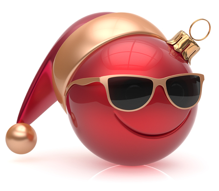 christmasball: Christmas ball emoticon smiley face eyeglasses adornment New Years Eve bauble cartoon decoration cute red. Happy Merry Xmas cheerful glasses smile avatar Santa hat laughing fun character. 3d render