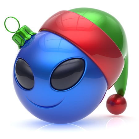 christmasball: Christmas ball alien face New Years Eve bauble smiley cartoon cute emoticon decoration blue. Happy Merry Xmas cheerful fun smile Santa hat person character toy laughing eyes joy adornment 3d render
