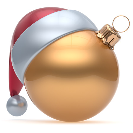 adornment: Christmas ball adornment ornament golden New Years Eve bauble decoration blank. Happy Merry Xmas funny Santa Claus hat sphere emoticon wintertime traditional seasonal celebration souvenir. 3d render