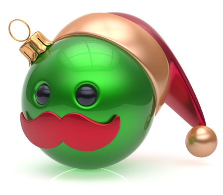 christmasball: Christmas ball emoticon New Years Eve bauble Santa Claus hat cartoon mustache joyful face adornment decoration cute green. Happy Merry Xmas cheerful person laughing funny character avatar. 3d render