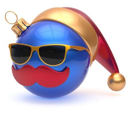 persona feliz: bigote cara Eva chuchería azul de dibujos animados alegre bola de navidad emoticono Santa Claus decoración adorno sombrero de Año Nuevo. Feliz Feliz Navidad alegre anteojos persona se ríe divertido personaje. 3d