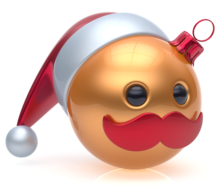 adornment: Christmas ball emoticon New Years Eve bauble Santa Claus hat cartoon mustache joyful face adornment decoration cute golden. Happy Merry Xmas cheerful person laughing funny character avatar. 3d render Stock Photo