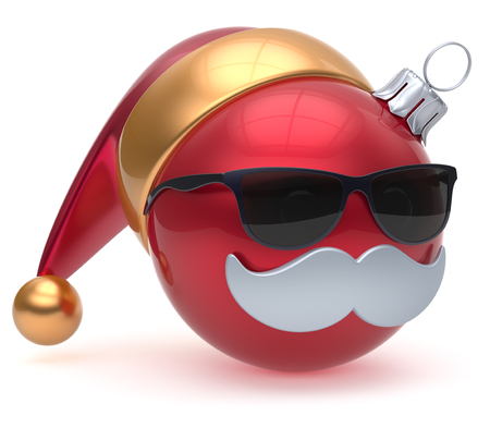 adornment: Emoticon Christmas ball Santa Claus hat adornment decoration Happy New Years Eve bauble cartoon mustache face joyful red. Merry Xmas cheerful eyeglasses person laughing fun character. 3d render Stock Photo