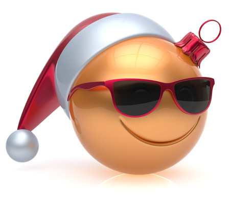 christmasball: Christmas ball emoticon smiley face eyeglasses adornment New Years Eve bauble cartoon decoration cute golden. Happy Merry Xmas cheerful glasses smile avatar Santa hat laughing fun character 3d render