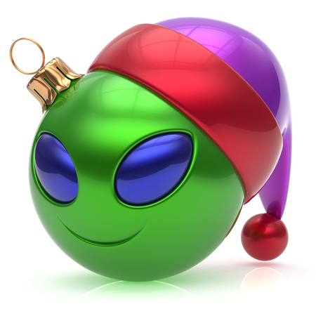 green face: Christmas ball alien face New Years Eve bauble smiley cartoon cute emoticon decoration green. Happy Merry Xmas cheerful fun smile Santa hat person character toy laughing eyes joy adornment 3d render Stock Photo