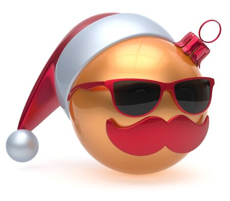 adornment: Christmas ball emoticon Santa Claus hat adornment decoration New Years Eve bauble cartoon mustache face joyful golden. Happy Merry Xmas cheerful eyeglasses person laughing fun character. 3d render