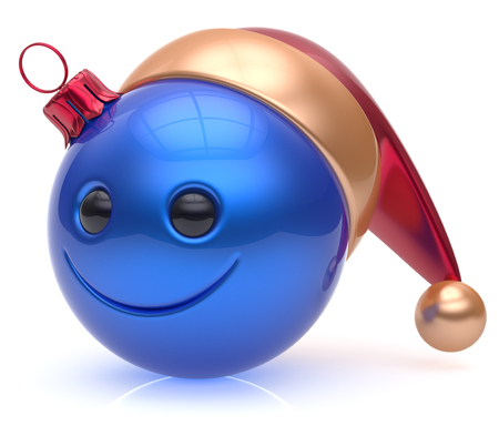 adornment: Christmas ball emoticon smiley face adornment Happy New Years Eve bauble decoration cute blue. Happy Merry Xmas cheerful avatar smile Santa hat laughing funny joyful cartoon character. 3d render