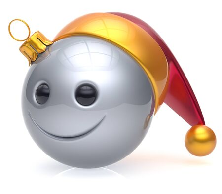 adornment: Christmas ball emoticon smiley face adornment Happy New Years Eve bauble decoration cute white. Happy Merry Xmas cheerful avatar smile Santa hat laughing funny joyful cartoon character. 3d render