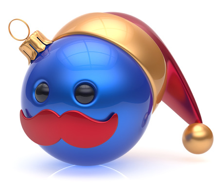 adornment: Christmas ball emoticon New Years Eve bauble Santa Claus hat cartoon mustache joyful face adornment decoration cute blue. Happy Merry Xmas cheerful person laughing funny character avatar. 3d render Stock Photo