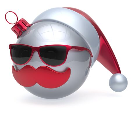 christmasball: Christmas ball emoticon Santa Claus hat adornment decoration New Years Eve bauble cartoon mustache face joyful white. Happy Merry Xmas cheerful eyeglasses person laughing fun character. 3d render