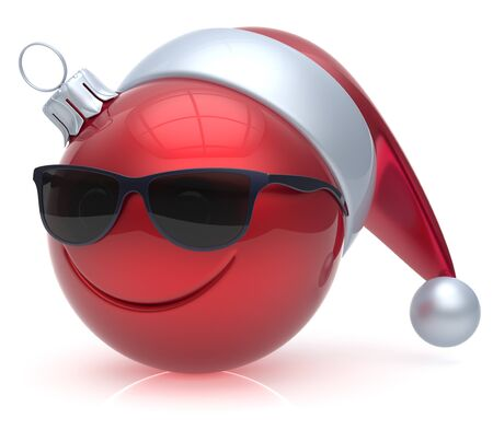 christmasball: Emoticon Christmas ball eyeglasses smiley face adornment New Years Eve bauble cartoon decoration cute red. Happy Merry Xmas cheerful glasses smile avatar Santa hat laughing fun character. 3d render Stock Photo