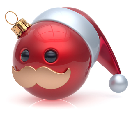 adornment: Emoticon Christmas ball New Years Eve bauble Santa Claus hat cartoon mustache joyful face adornment decoration cute red. Happy Merry Xmas cheerful person laughing funny character avatar. 3d render