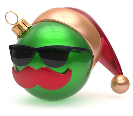 green face: Christmas ball emoticon Santa Claus hat adornment decoration New Years Eve bauble cartoon mustache face joyful green. Happy Merry Xmas cheerful eyeglasses person laughing fun character. 3d render Stock Photo