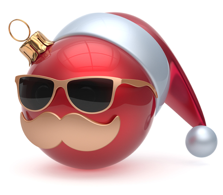 adornment: Christmas ball emoticon Santa Claus hat adornment decoration New Years Eve bauble cartoon mustache face joyful red. Happy Merry Xmas cheerful eyeglasses person laughing fun character. 3d render Stock Photo