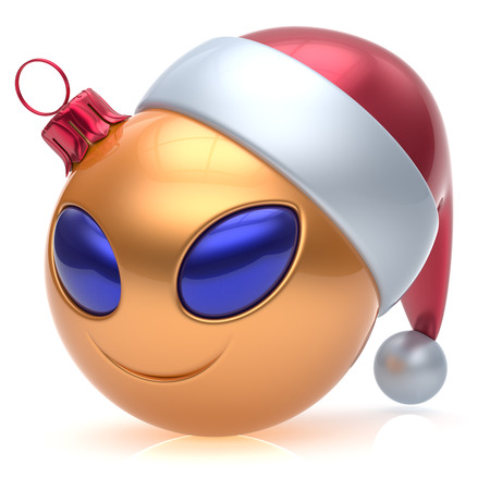 adornment: Christmas ball alien face New Years Eve bauble smiley cartoon cute emoticon decoration gold. Happy Merry Xmas cheerful funny smile Santa hat person character toy laughing eyes joy adornment 3d render