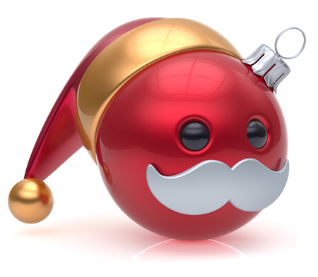 christmasball: Christmas ball emoticon New Years Eve bauble Santa Claus hat cartoon mustache joyful face adornment decoration cute red. Happy Merry Xmas cheerful person laughing funny character avatar. 3d render