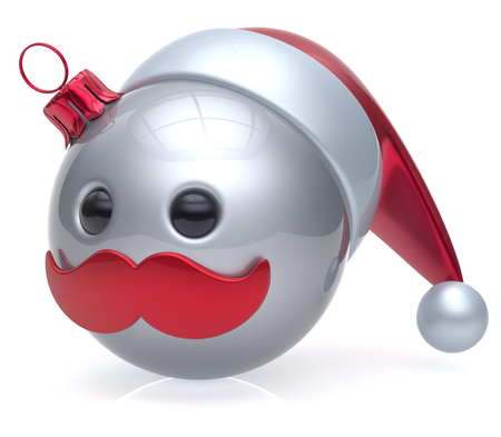 christmasball: Christmas ball emoticon New Years Eve bauble Santa Claus hat cartoon mustache joyful face adornment decoration cute white. Happy Merry Xmas cheerful person laughing funny character avatar. 3d render