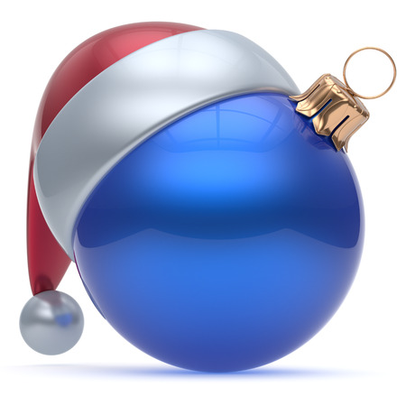Christmas ball adornment ornament blue New Years Eve bauble decoration blank. Happy Merry Xmas funny Santa Claus hat sphere emoticon wintertime traditional seasonal celebration souvenir. 3d render Stock Photo