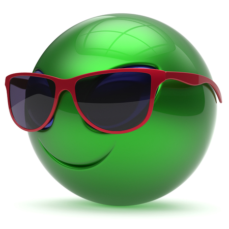 green face: Smiley alien face sunglasses cartoon cute head emoticon monster ball green red avatar. Cheerful funny smile invader person character toy laughing eyes joy icon concept. 3d render isolated Stock Photo