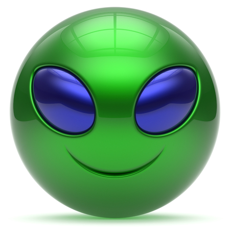 invader: Smiley alien face cartoon cute head emoticon monster ball green blue avatar. Cheerful funny smile invader person character toy laughing eyes joy icon concept. 3d render isolated