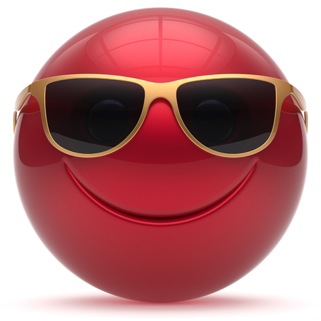 cheerful cartoon: Smiling face head ball cheerful sphere emoticon cartoon smiley happy decoration cute red golden sunglasses. Smile funny joyful person laughing joy character toy avatar. 3d render isolated