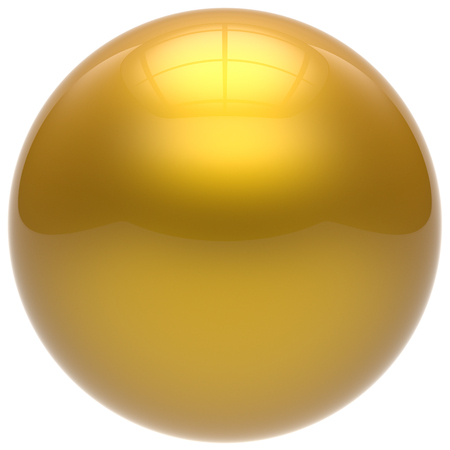 basic figure: Sphere button round ball yellow geometric shape basic circle solid figure simple minimalistic element single drop golden shiny glossy sparkling object blank balloon atom icon. 3d render isolated
