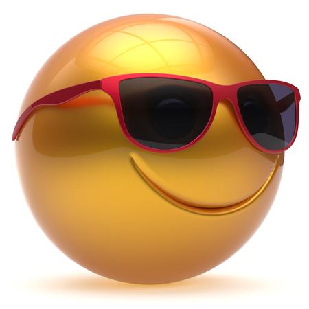 payasos caricatura: Cara de la sonrisa alegre r�tula de la esfera de dibujos animados emoticon sonriente feliz linda decoraci�n de las gafas de sol de color amarillo oro rojo. Sonriendo persona alegre risa divertida de la alegr�a del juguete avatar car�cter. 3d aislado