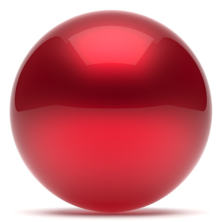 Sphere ball geometric shape button round basic circle solid figure simple minimalistic element single red drop shiny glossy sparkling object blank balloon atom icon. 3d render isolated