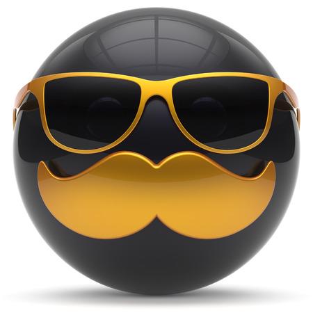 payasos caricatura: Bigote cara de dibujos animados emoticon feliz de la bola alegre guapo persona negro gafas de sol de oro icono de la caricatura. gafas de risa alegre diversión esfera positiva avatar carácter sonriente. 3d aislado
