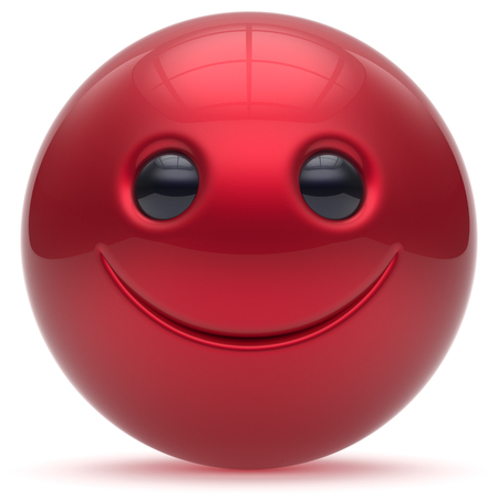 head toy: Smiling face head ball cheerful sphere emoticon cartoon smiley happy decoration cute red. Smile funny joyful person laughing joy character toy good avatar. 3d render isolated Stock Photo