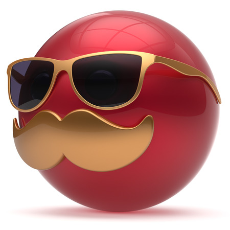 joke glasses: Cartoon mustache face emoticon ball happy joyful handsome person red golden sunglasses caricature icon. Cheerful eyeglasses laughing fun sphere positive smiley character avatar. 3d render isolated Stock Photo