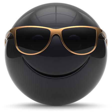 persona feliz: cara sonriente alegre rótula de la esfera de dibujos animados emoticon sonriente feliz linda decoración de las gafas de sol negras de oro. Sonrisa divertida persona laughing alegría avatar juguete carácter. 3d aislado Foto de archivo