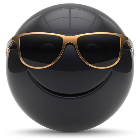 cheerful cartoon: Smiley face head ball cheerful sphere emoticon cartoon smiling happy decoration cute black golden sunglasses. Smile funny joyful person laughing joy character toy avatar. 3d render isolated Stock Photo