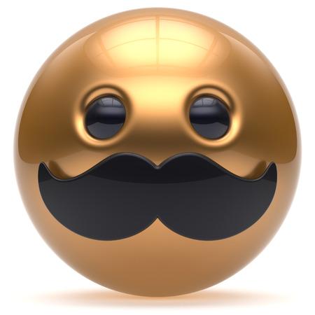 payasos caricatura: bigote cara de dibujos animados lindo emoticono feliz de la bola alegre guapo persona de oro negro caricatura icono de estilo. Alegre risa de la diversión esfera positiva avatar carácter sonriente. 3d aislado