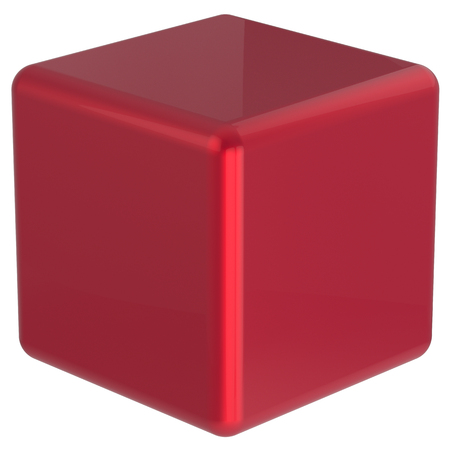 basic figure: Cube geometric shape dice block basic box solid square brick figure simple minimalistic element single red shiny blank object. 3d render isolated Stock Photo