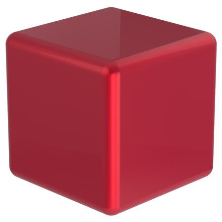 basic shapes: Cube geometric shape dice block basic box solid square brick figure simple minimalistic element single red shiny blank object. 3d render isolated Stock Photo