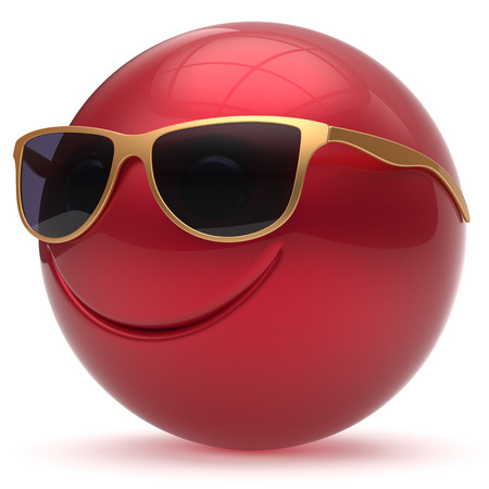 cheerful cartoon: Smile face head ball cheerful sphere emoticon cartoon smiley happy decoration cute red golden sunglasses. Smiling funny joyful person laughing joy character toy avatar. 3d render isolated