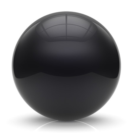 basic figure: Sphere button ball black round basic circle geometric shape solid figure simple minimalistic element single shiny glossy sparkling object blank balloon atom icon. 3d render isolated