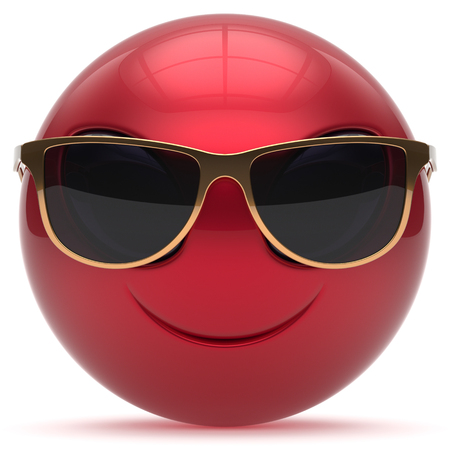 invader: Smiley alien face cartoon cute sunglasses head emoticon monster ball red golden avatar. Cheerful funny smile invader person character toy laughing eyes joy icon concept. 3d render isolated
