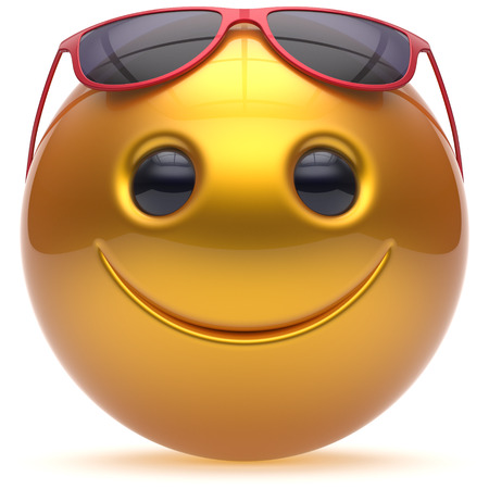 head toy: Smile face cheerful head ball sphere emoticon cartoon smiley happy decoration cute yellow red sunglasses. Smiling funny joyful person laughing joy character toy avatar. 3d render isolated