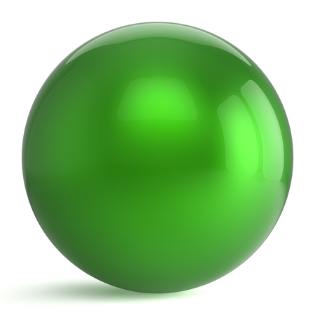 Sphere button round green ball geometric shape basic circle solid figure simple minimalistic atom element single drop shiny glossy sparkling object blank balloon icon. 3d render isolated