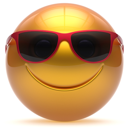 head toy: Smiling face head ball cheerful sphere emoticon cartoon smiley happy decoration cute yellow golden red sunglasses. Smile funny joyful person laughing joy character toy avatar. 3d render isolated Stock Photo