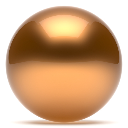 basic shapes: Sphere ball geometric shape button round basic circle solid figure simple minimalistic element single gold golden yellow shiny glossy sparkling object blank balloon atom icon. 3d render isolated Stock Photo