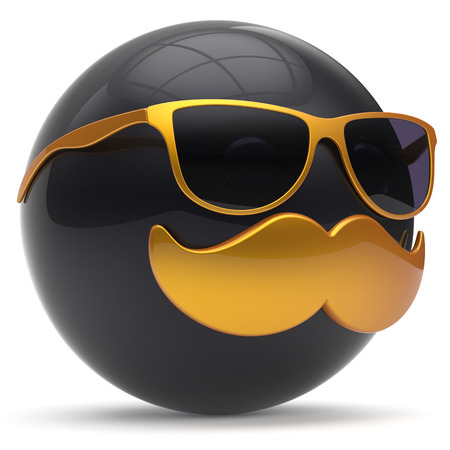 3d shape: Cartoon mustache face emoticon ball happy joyful handsome person black golden sunglasses caricature icon. Cheerful eyeglasses laughing fun sphere positive smiley character avatar. 3d render isolated