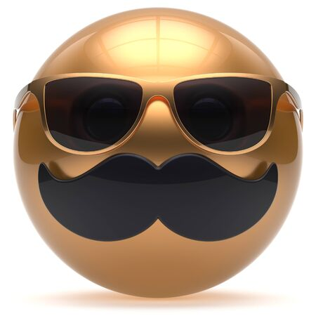 cheerful cartoon: Mustache face emoticon ball happy joy handsome cartoon person black golden sunglasses stylish caricature. Cheerful eyeglasses laughing fun sphere positive smiley character avatar. 3d render isolated Stock Photo